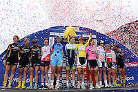 Picture by Alex Broadway/SWpix.com - 11/05/2014 - Cycling - The Friends Life Women's Tour 2014 - Stage 5: Harwich to Bury St. Edmunds - The winners celebrate on the podium.