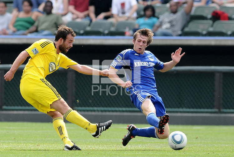 Adam Moffat (yellow), Jonathan Leathers...Kansas City Wizards were defeated 1-0 by Columbus Crew at Community America Ballpark, Kansas City, Kansas.