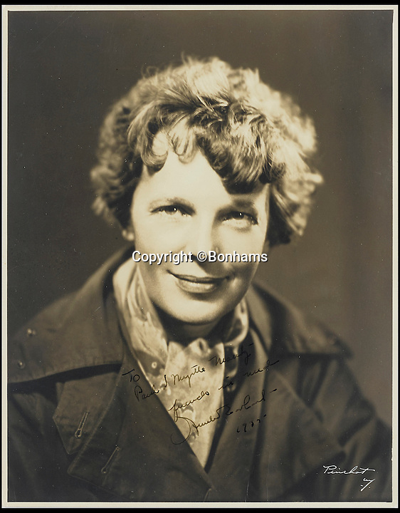 BNPS.co.uk (01202 558833)<br /> Pic: Bonhams/BNPS<br /> <br /> Amelia Earhart.<br /> <br /> The blueprints of the cutting edge aeroplane that tragic aviation pioneer Amelia Earhart disappeared in during an attempt to fly around the world almost 80 years ago have emerged for sale for &pound;14,000.<br /> <br /> Earhart's Lockheed Electra 10e aircraft was packed so full of new technology that it was dubbed the 'flying laboratory' on its launch in 1936.<br /> <br /> Plans and invoices for the work Lockheed carried out to modify the plane for the round the world flight show Earhart had four auxiliary fuel tanks fitted in the passenger compartment and a navigator's station to the rear of that.<br /> <br /> The auction will take place at Bonhams in New York on June 8.