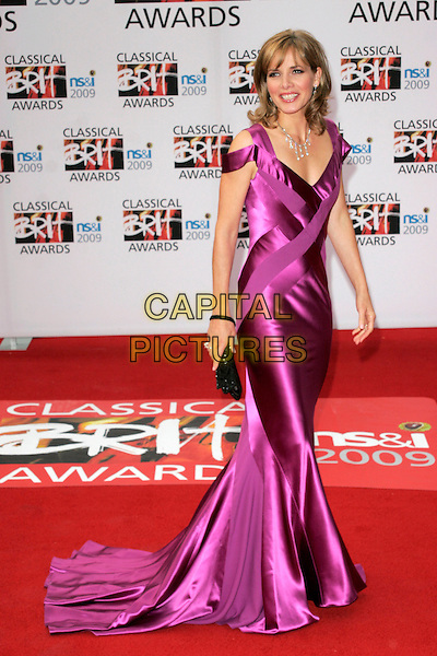DARCY BUSSELL.Arrivals - the Classical Brit Awards 2009 at the Royal Albert Hall, London, England..May 14th 2009.brits full length long maxi train clutch bag black pink purple silk satin cut out shoulder dress.CAP/AH.©Adam Houghton/Capital Pictures.