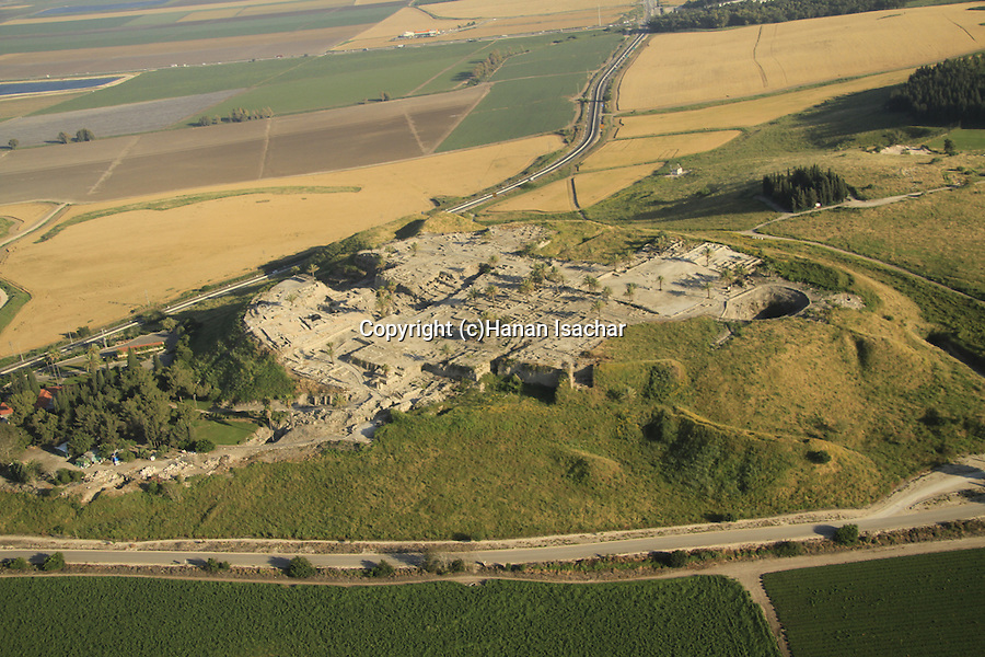 Israel, Jezreel valley, an aerial view of Tel Megiddo