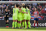 FC Barcelona's players celebrate goal during Liga Iberdrola match between Atletico de Madrid and FC Barcelona at Wanda Metropolitano Stadium in Madrid, Spain. March 17, 2019. (ALTERPHOTOS/A. Perez Meca)