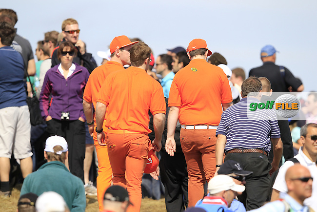 Rickie Fowler (USA) orange army fans follow him on the 11th hole during Saturday's Round 3 of the 141st Open Championship at Royal Lytham & St.Annes, England 21st July 2012 (Photo Eoin Clarke/www.golffile.ie)