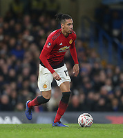 Manchester United's Chris Smalling<br /> <br /> Photographer Rob Newell/CameraSport<br /> <br /> Emirates FA Cup Fifth Round - Chelsea v Manchester United - Monday 18th February - Stamford Bridge - London<br />  <br /> World Copyright © 2019 CameraSport. All rights reserved. 43 Linden Ave. Countesthorpe. Leicester. England. LE8 5PG - Tel: +44 (0) 116 277 4147 - admin@camerasport.com - www.camerasport.com
