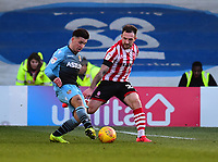 Lincoln City's Neal Eardley vies for possession with Stevenage's Ilias Chair<br /> <br /> Photographer Andrew Vaughan/CameraSport<br /> <br /> The EFL Sky Bet League Two - Lincoln City v Stevenage - Saturday 16th February 2019 - Sincil Bank - Lincoln<br /> <br /> World Copyright © 2019 CameraSport. All rights reserved. 43 Linden Ave. Countesthorpe. Leicester. England. LE8 5PG - Tel: +44 (0) 116 277 4147 - admin@camerasport.com - www.camerasport.com