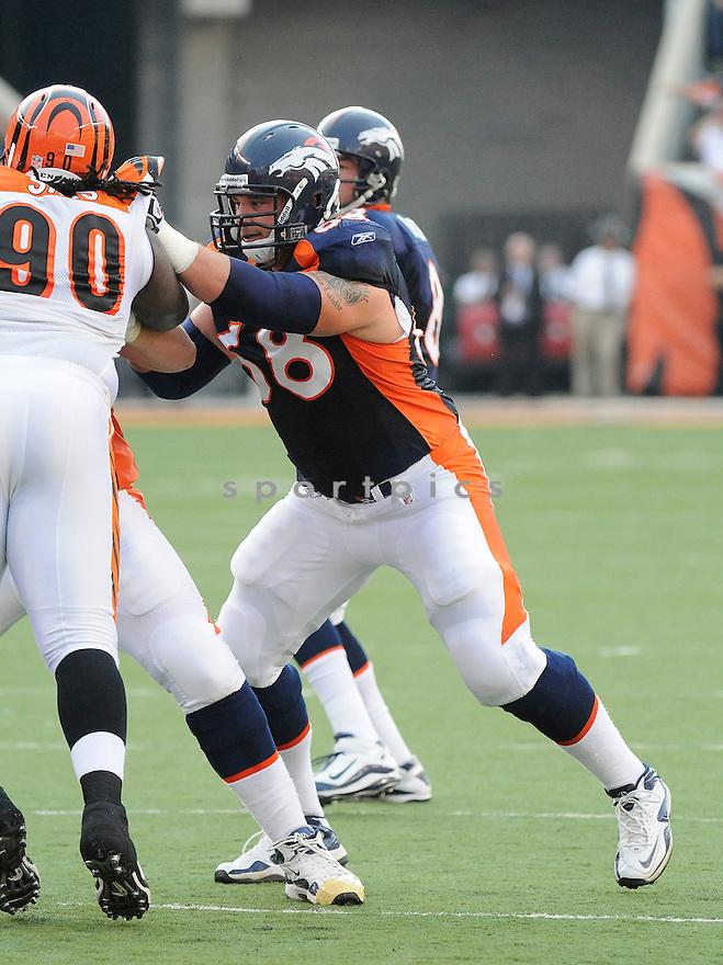 ZANE BEADLES, of the Denver Broncos  in action during the Broncos game against the Cincinnati Bengals at Paul Brown Stadium in Cincinnati, OH.  on August 20, 2010.  The Bengals beat the Broncos 22-9 in the second week of preseason games...