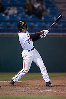 San Jose Giants second baseman Jalen Miller (2) at bat during a California League game against the Modesto Nuts at San Jose Municipal Stadium on May 15, 2018 in San Jose, California. Modesto defeated San Jose 7-5. (Zachary Lucy/Four Seam Images)