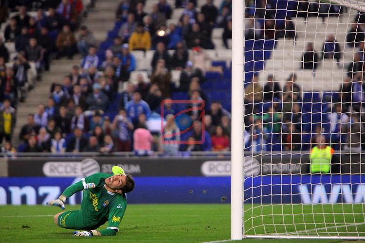 League Santander 2016/2017. Game: 27.<br /> RCD Espanyol vs UD Las Palmas: 4-3.<br /> Raul Lizoain.