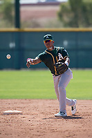 Oakland Athletics shortstop Alexander Campos (6) during a Minor League Spring Training game against the Chicago Cubs at Sloan Park on March 19, 2018 in Mesa, Arizona. (Zachary Lucy/Four Seam Images)