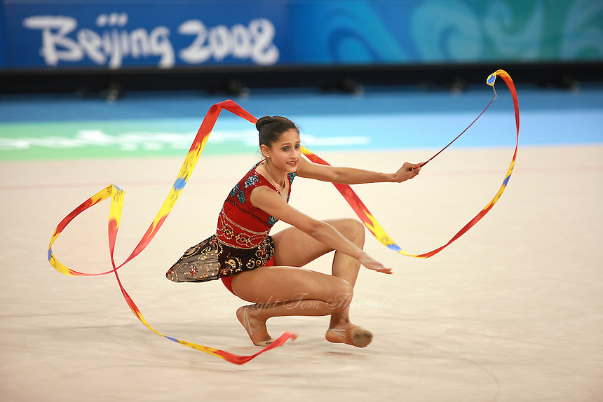 August 22, 2008; Beijing, China; Rhythmic gymnast Naazmi Johnston of Australia performs with ribbon on way placing 22nd in qualifying round at 2008 Beijing Olympics. Copyright 2008 Tom Theobald