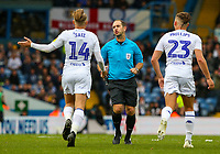 Leeds United's Samu Saiz and Kalvin Phillips protest to referee Jeremy Simpson<br /> <br /> Photographer Alex Dodd/CameraSport<br /> <br /> The EFL Sky Bet Championship - Leeds United v Brentford - Saturday 6th October 2018 - Elland Road - Leeds<br /> <br /> World Copyright &copy; 2018 CameraSport. All rights reserved. 43 Linden Ave. Countesthorpe. Leicester. England. LE8 5PG - Tel: +44 (0) 116 277 4147 - admin@camerasport.com - www.camerasport.com