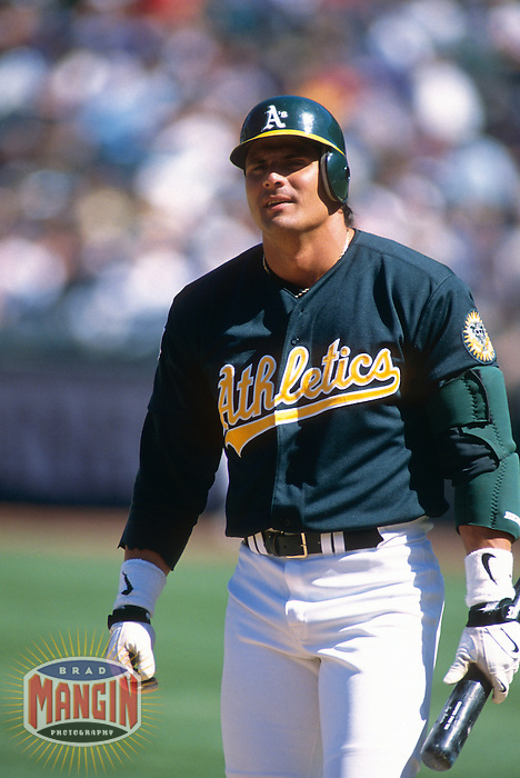 OAKLAND, CA - Jose Canseco of the Oakland Athletics in action during a game at the Oakland Coliseum in Oakland, California in 1997. Photo by Brad Mangin