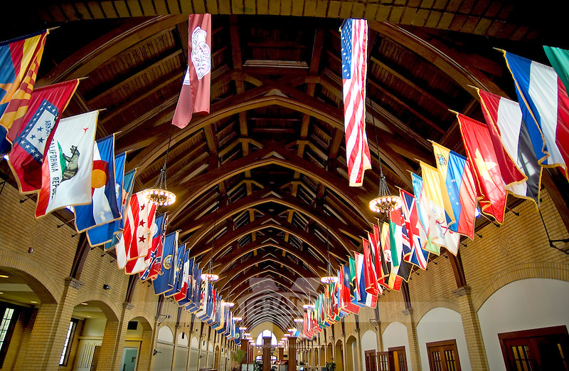 International flags in historic Perry Cafeteria (photo by Russ Houston / © Mississippi State University)