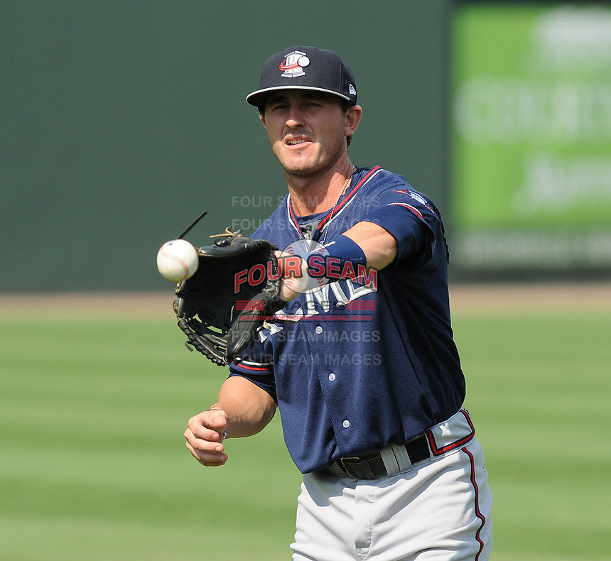Infielder KC Clabough (5) of the Rome Braves, an Atlanta Braves affiliate, prior to a game against the Greenville Drive on July 6, 2012, at Fluor Field at the West End in Greenville, South Carolina. Clabough was a 28th-round pick of the Atlanta Braves in the 2012 First-Year Player Draft. Greenville won, 4-0. (Tom Priddy/Four Seam Images).
