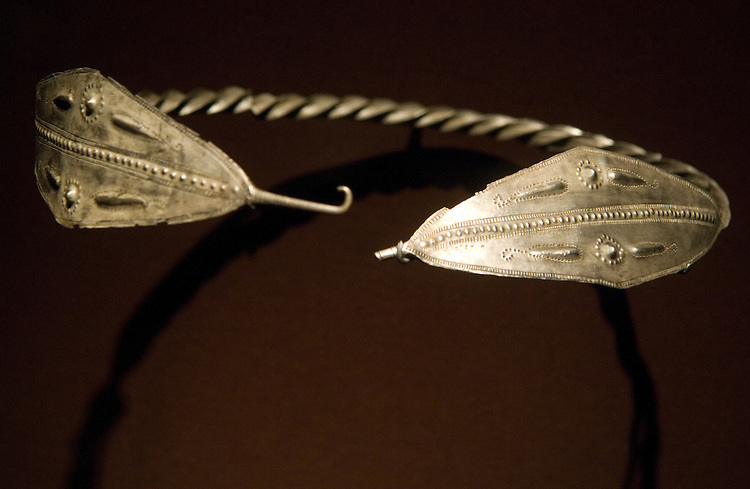 "A silver diadem from the 5th century BCE, is on display as part of the ""Wine, Worship and Sacrifice"" exhibit at the Arthur M. Sackler Gallery, Smithsonian Institution."