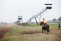 A golfer (far right) waited for a racehorse to pass before continuing to the 9-hole  golf course set in the middle of the loop of the Ngong Racecorse. Golf was  recently added as a feature to bring more visitors to the complex run by The Jockey Club of Kenya. In recent years they have struggled to attract enough business to keep horse racing profitable in Kenya. Nairobi, Kenya. March 13, 2013. Photo: Brendan Bannon