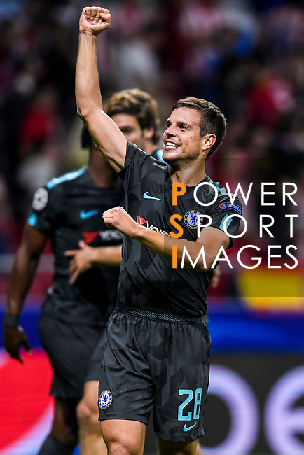 Cesar Azpilicueta of Chelsea FC celebrates during the UEFA Champions League 2017-18 match between Atletico de Madrid and Chelsea FC at the Wanda Metropolitano on 27 September 2017, in Madrid, Spain. Photo by Diego Gonzalez / Power Sport Images