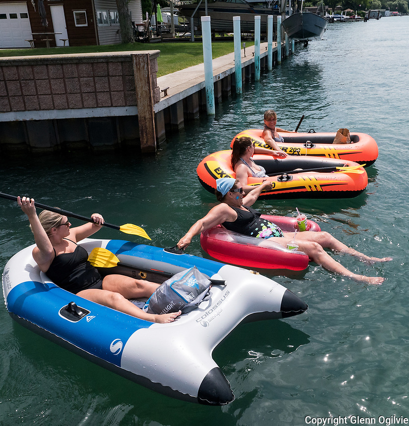 Floating down the St. Clair River from the Corunna Stag Island dock to Mooretown is a great way to spend a day outdoors. From left (foreground) are; Mandy Smith, of Corunna, Anita Giguere, of Caramat Ont., Chantalle Watson, of Sarnia and Janette St. Jean, of Sarnia.