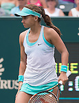 Lauren Davis (USA) loses to Madison Keys (USA) 6-2, 6-2 at the Family Circle Cup in Charleston, South Carolina on April 10, 2015.
