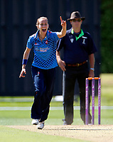 Natasha Farrant celebrates taking a Lancashire wicket during the Women's Royal London County Championship game between Kent ladies and Lancashire ladies at the County Ground, Beckenham, on May 7, 2018