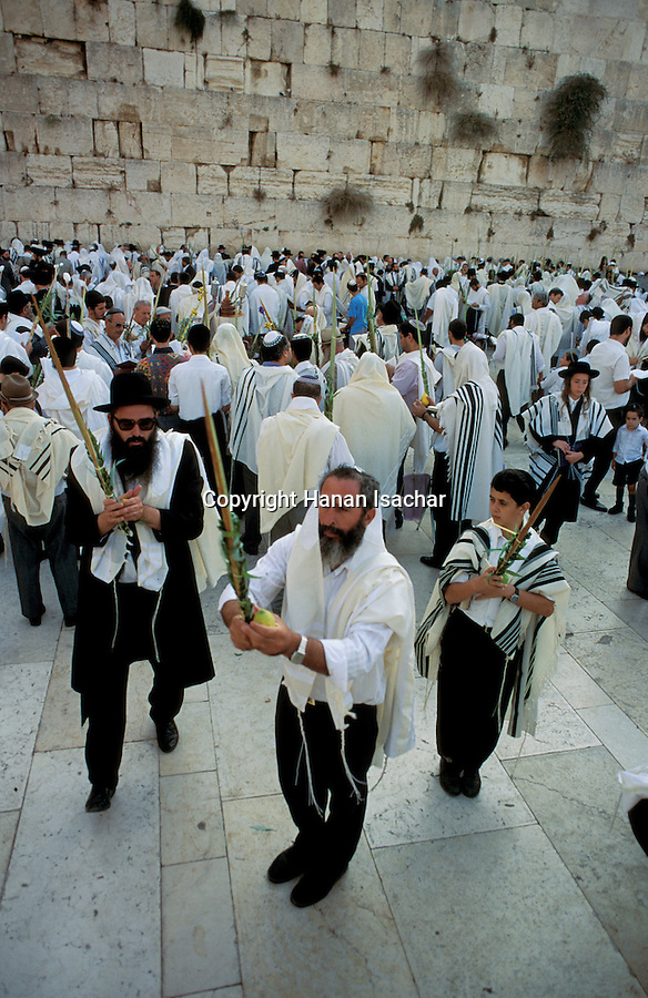 Jerusalem Old City, the Priestly Blessing ceremony by the Western Wall on Succot holiday, a prayer with the four species<br />