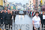 MOURNING: The.hearse stops.outside the.Brogue Inn on.Monday night.