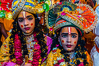 Boys dressed as Lord Krishna, Chhadi Mar Holi (one of the local Holi festivals in the Mathura area), Gokul, Uttar Pradesh, India.