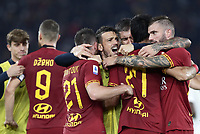 Football, Serie A: AS Roma - AC Milan, Olympic stadium, Rome, October 27, 2019. <br /> Roma's players celebrate after winning 2-1 the Italian Serie A football match between Roma and Milan at Olympic stadium in Rome, on October 27, 2019. <br /> UPDATE IMAGES PRESS/Isabella Bonotto