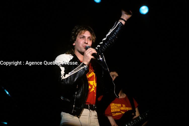 Quebec (Qc) CANADA - File Photo - February 1987-<br /> Autograf perform at <br /> Rendez Vous 87 in Quebec City.<br /> <br /> -Photo (c) :  Images Distribution