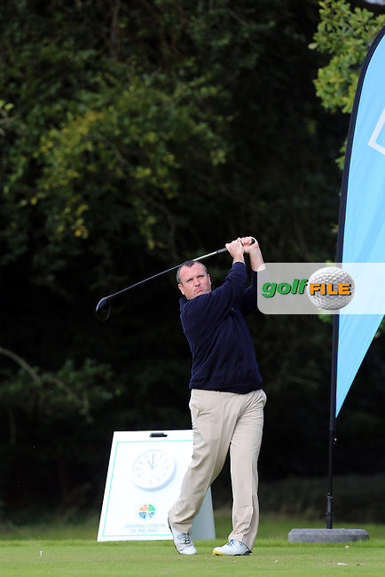 Jim Mulready (Castle) on the 1st tee during the final of the AIG Senior Cup at Carton House.17/9/16<br /> Picture: Golffile | Jenny Matthews<br /> <br /> <br /> All photo usage must carry mandatory copyright credit (&copy; Golffile | Jenny Matthews)