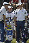 European Captain Nick Faldo and player Soren Hansen on the 1st tee  the Singles on the Final Day of the Ryder Cup at Valhalla Golf Club, Louisville, Kentucky, USA, 21st September 2008 (Photo by Eoin Clarke/GOLFFILE)