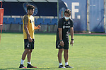 Getafe's second coach Javier Vidal (r) with Hugo Duro during training session. May 25,2020.(ALTERPHOTOS/Acero)