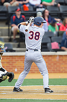 Mike Papi (38) of the Virginia Cavaliers at bat against the Wake Forest Demon Deacons at Wake Forest Baseball Park on May 17, 2014 in Winston-Salem, North Carolina.  The Demon Deacons defeated the Cavaliers 4-3.  (Brian Westerholt/Four Seam Images)