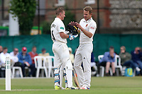 Neil Wagner of Essex (R) checks Scott Borthwick's helmet after hitting the batsman on the head with a delivery during Surrey CCC vs Essex CCC, Specsavers County Championship Division 1 Cricket at Guildford CC, The Sports Ground on 11th June 2017