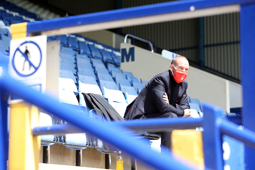 A member of the Nottingham Forest staff wearing PPE (personal protective equipment) looks out from empty stands<br /> <br /> Photographer Rich Linley/CameraSport<br /> <br /> The EFL Sky Bet Championship - Sheffield Wednesday v Nottingham Forest - Saturday 20th June 2020 - Hillsborough - Sheffield <br /> <br /> World Copyright © 2020 CameraSport. All rights reserved. 43 Linden Ave. Countesthorpe. Leicester. England. LE8 5PG - Tel: +44 (0) 116 277 4147 - admin@camerasport.com - www.camerasport.com