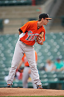 Norfolk Tides pitcher Zach Davies (15) looks in for the sign during a game against the Rochester Red Wings on May 3, 2015 at Frontier Field in Rochester, New York.  Rochester defeated Norfolk 7-3.  (Mike Janes/Four Seam Images)