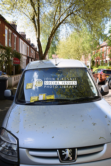Parking tickets on car parked on permit only street in Norwich - in total, 7 tickets were issued. UK May 2018