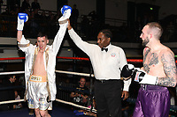 Peter Mirga (white shorts) defeats Harvey Hemsley during a Boxing Show at York Hall on 14th April 2018