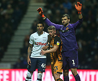 Preston North End's Lukas Nmecha closely marked by Hull City's goalkeeper David Marshall and Stephen Kingsley as they wait for a corner kick<br /> <br /> Photographer Stephen White/CameraSport<br /> <br /> The EFL Sky Bet Championship - Preston North End v Hull City - Wednesday 26th December 2018 - Deepdale Stadium - Preston<br /> <br /> World Copyright &copy; 2018 CameraSport. All rights reserved. 43 Linden Ave. Countesthorpe. Leicester. England. LE8 5PG - Tel: +44 (0) 116 277 4147 - admin@camerasport.com - www.camerasport.com