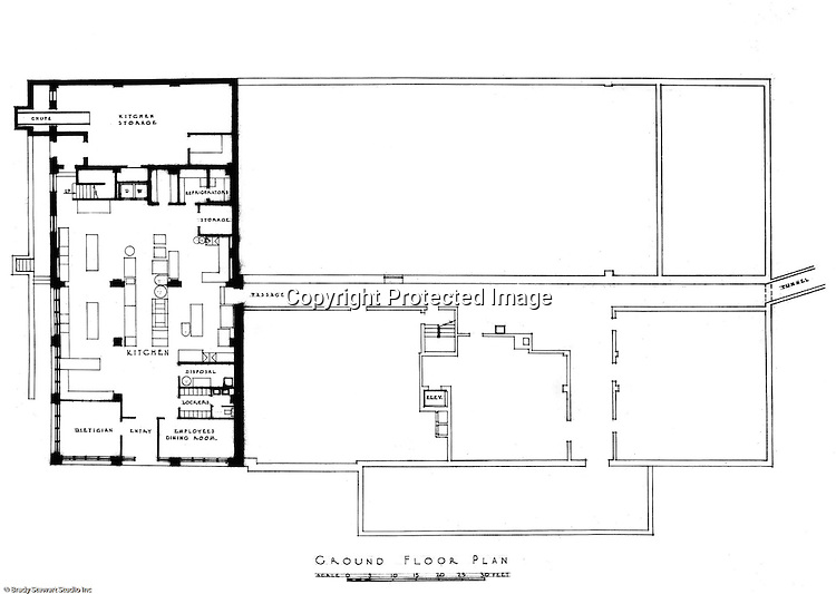 Pittsburgh PA:  An Ingham, Boyd and Pratt drawing of the renovated ground floor of Woodland Hall at the Pennsylvania College for Women's campus.  Ingham, Boyd and Pratt Architect's various designs were submitted from 1948 through 1952 with construction starting in 1953. Pennsylvania College for Women was renamed Chatham College in 1955.