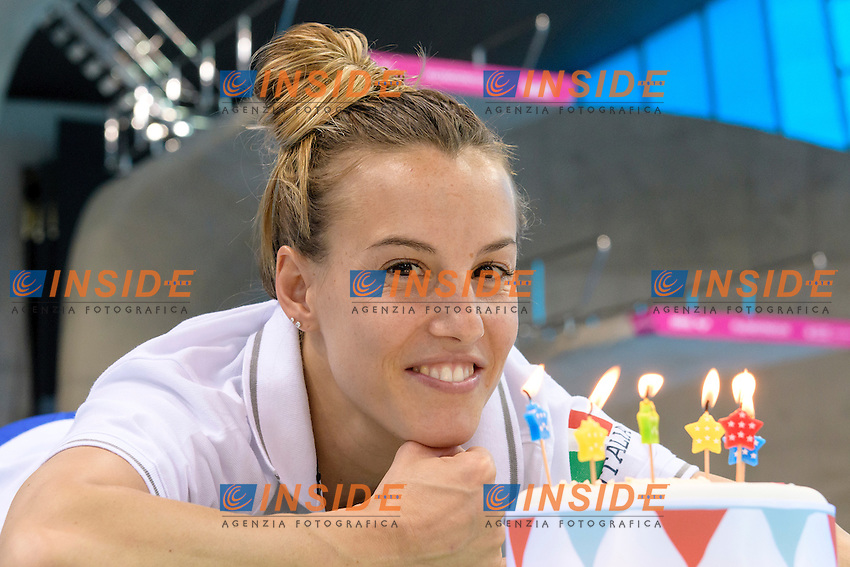 Tania CAGNOTTO of Italy celebrates her 31st birthday on the pool deck . Tania CAGNOTTO festeggia il suo 31mo compleanno in piscina  <br /> Women's 3m Synchronized Springboard<br /> London, Queen Elizabeth II Olympic Park Pool <br /> LEN 2016 European Aquatics Elite Championships <br /> Diving  <br /> Day 07 15-05-2016<br /> Photo Andrea Staccioli/Deepbluemedia/Insidefoto