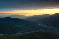 The Cairngorms at dawn from A'Mharconaich, Monadhliath, Drumochter Pass, Cairngorm National Park, Highlands<br /> <br /> Copyright www.scottishhorizons.co.uk/Keith Fergus 2011 All Rights Reserved