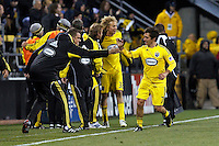 8 MAY 2010:  Guillermo Barros Schelotto of the Columbus Crew (7) celebrate a goal during MLS soccer game between New England Revolution vs Columbus Crew at Crew Stadium in Columbus, Ohio on May 8, 2010.