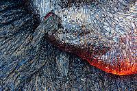 Close up of lava flows intricate surface, Kahauale'a II lava flow, Kahaualea Nar and the Wao Kele O Puna land, Puu Oo vent, Kilauea volcano, Hawaii Volcanoes National Park, Big Island, Hawaii, USA