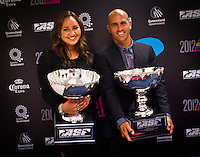 "GOLD COAST, Queensland/Australia (Friday, February 24, 2012) Carissa Moore (HAW) and Kelly Slater (USA)  x 11 World Champion. – The 29th Annual ASP World Surfing Awards went off tonight at the Gold Coast Convention and Exhibition Centre with the world's best surfers trading the beachwear for formal attire as the 2011 ASP World Champions were officially crowned.. .Kelly Slater (USA), 40, and Carissa Moore (HAW), 19, took top honours for the evening, collecting the ASP World Title and ASP Women's World Title respectively.. .""I have actually been on tour longer than some of my fellow competitors have been alive,"" Slater said. ""All joking aside, it's truly humbling to be up here and honoured in front of such an incredible collection of surfers. I want to thank everyone in the room for pushing me to where I am.""..In addition to honouring the 2011 ASP World Champions, the ASP World Surfing Awards included new accolades voted on by the fans and the surfers themselves...For the first time in several years, ASP Life Membership was awarded to Hawaiian legend and icon of high-performance surfing, Larry Bertlemann (HAW), 56...""Where surfing is today is where I dreamed it should be in the 70's,"" Bertlemann said. ""You guys absolutely deserve this and I'm so honored to be up here in front of you all tonight."".Grammy Award-winning artists Wolfmother and The Vernons rounded out the night's entertainment which was all streamed LIVE around the world on YouTube.com..Photo: joliphotos.com"