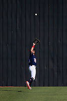 Elizabethton Twins center fielder DaShawn Keirsey (8) tracks a fly ball during a game against the Bristol Pirates on July 28, 2018 at Joe O'Brien Field in Elizabethton, Tennessee.  Elizabethton defeated Bristol 5-0.  (Mike Janes/Four Seam Images)
