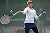 Samantha Galu of Jericho returns a volley during the Nassau County varsity girls' tennis doubles consolation final at Eisenhower Park on Sunday, October 18, 2015.<br />