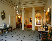 The new entrance hall with its Ionic columns was created for the 8th Marquess of Tweeddale by Robert Brown