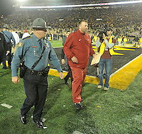 NWA Media/Michael Woods --11/28/2014-- w @NWAMICHAELW...University of Arkansas coach Bret Bielema heads to the locker room after the Razorbacks 21-14 loss to Missouri after Fridays game at Faurot Field in Columbia Missouri.