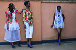 KIGALI, RWANDA NOVEMBER 6: Models fit dresses by the Ugandan designer Santa Anzo, and her label Arapapa by Santa Anzo a few days before the gala night at Kigali Fashion week on November 6, 2014 held at Kigali City Towers in Kigali, Rwanda. Designers from Rwanda, Burundi and Uganda showed their latest collections at the yearly event. (Photo by: Per-Anders Pettersson)
